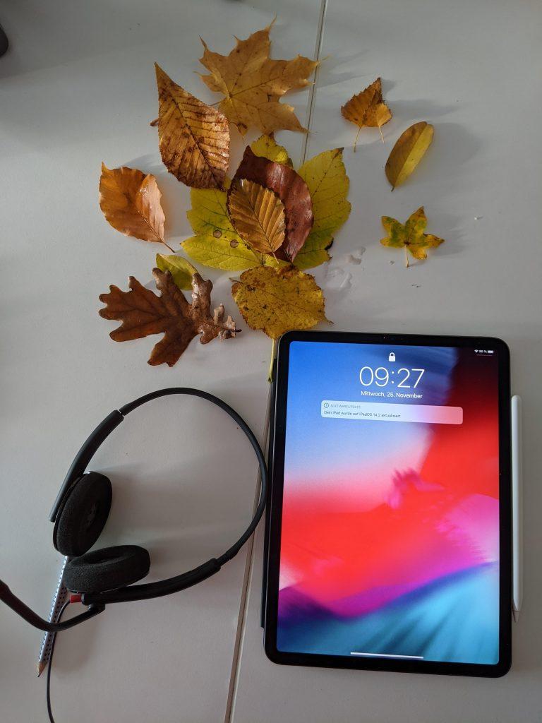 Ein Tablet, ein Headset und ein paar herbstliche Blätter auf einem Tisch